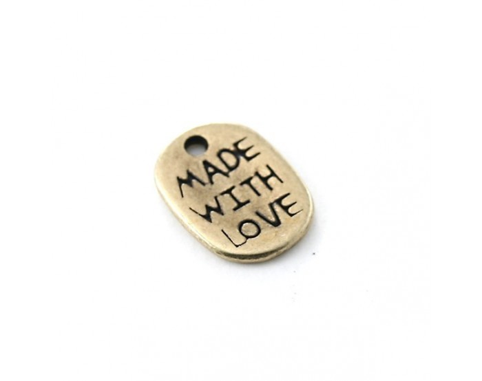 "Breloque ""made with love"" 8 x 11 mm"