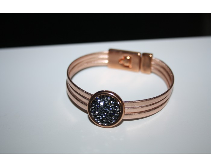 "Bracelet rose gold et Swarovski ""Chrome"""