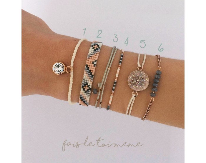 Collection 6 Bracelets - Beige, pêche, gris et rose gold
