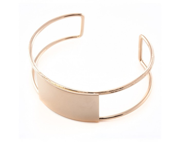 Bracelet jonc rose gold rectangle 2x61mm