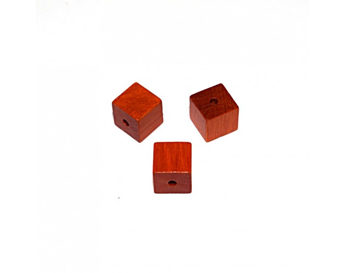 Perle en bois cube brut 10 mm traité orange x10