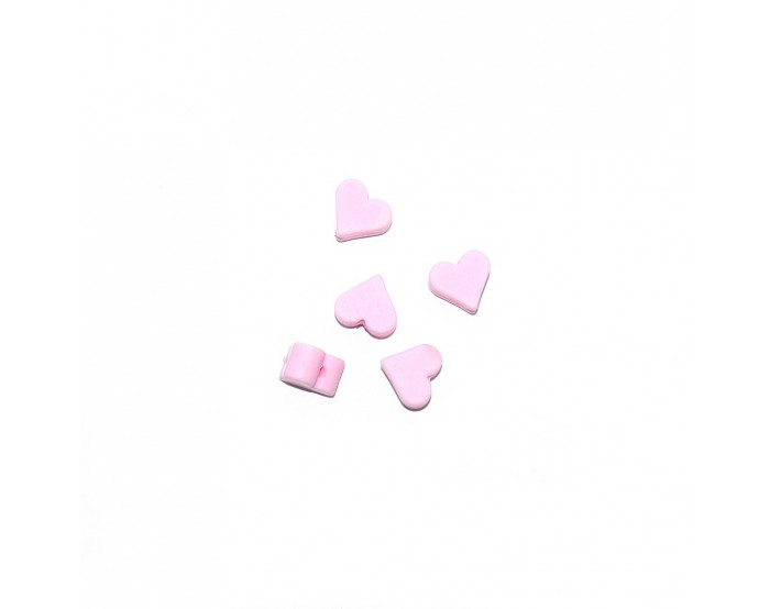 Perle silicone coeur 10x20 mm rose