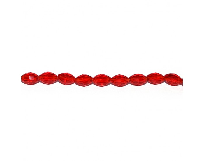 Perle facette ovale verre 6x4 mm rouge transparent x10