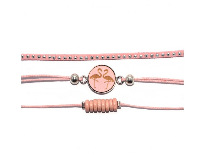 Collection 3 bracelets ananas / flamant rose