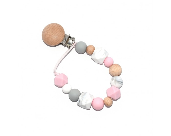 Attache tétine simple rose et gris