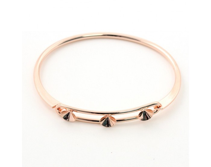 Bracelet rigide en métal 3 strass SS29 66 mm rose gold