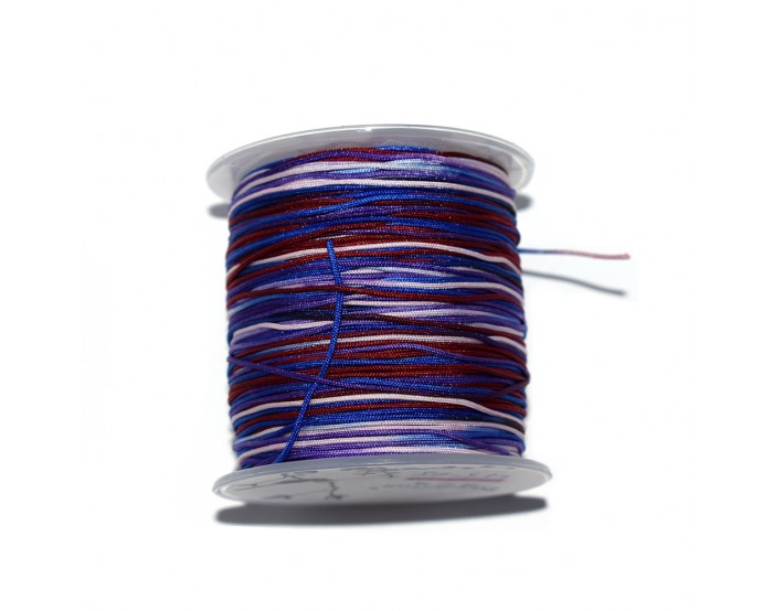 Fil nylon tressé 1 mm multicolore violet, bleu, bordeaux x1 m