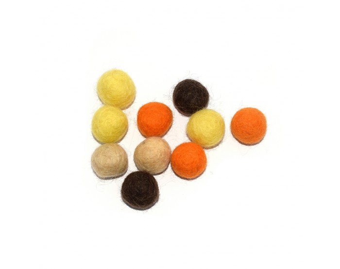 Boule en laine feutrée 20 mm camaïeu jaune, orange, marron x10