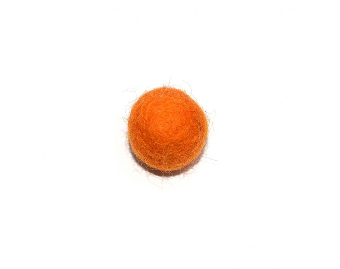 Boule en laine feutrée/feutrine 20 mm orange