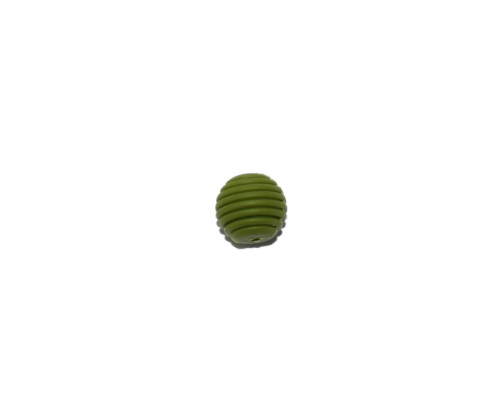 Perle silicone spirale 15 mm vert olive
