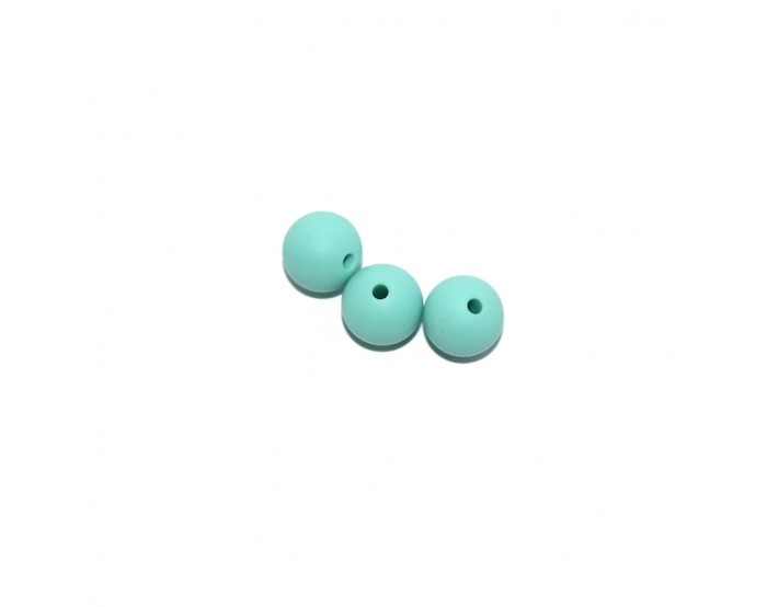 Perle ronde 15 mm silicone vert olive clair